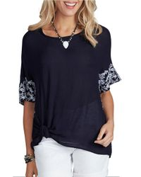 Democracy | Blue Embroidered Short-sleeve Woven Top | Lyst