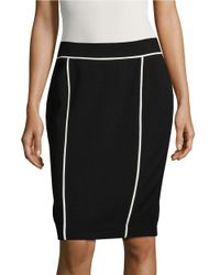 Calvin Klein | Black Contrast Pencil Skirt | Lyst
