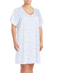 Carole Hochman   Pink Plus Size Printed Cotton Sleepshirt   Lyst
