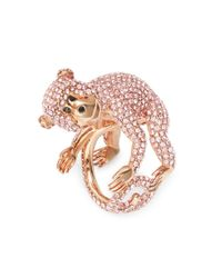 Kate Spade | Pink Rambling Rosescrystal Pave Monkey Ring | Lyst