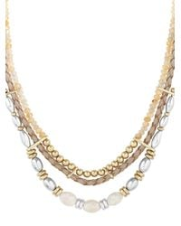 Lucky Brand - Metallic Sun Kissed Moments Semi-precious Rock Crystal Dual-tone Beaded Leather Collar Necklace - Lyst