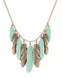 Lucky Brand   Blue Patina Feather Collar Necklace   Lyst