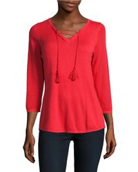 T Tahari | Red Gianna Lace-up Sweater | Lyst