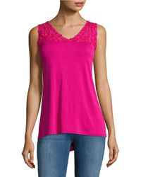 Lord & Taylor | Pink Lace-trimmed Tank Top | Lyst