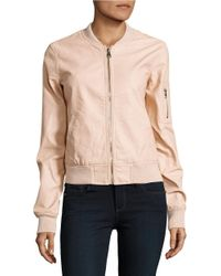 Lord & Taylor | Pink Faux Leather Bomber Jacket | Lyst