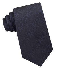 Calvin Klein | Black Leaf Patterned Silk Tie for Men | Lyst