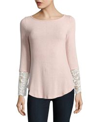 Lord & Taylor | Pink Lace-accented Knit Top | Lyst