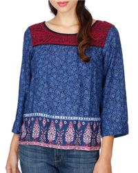 Lucky Brand | Blue Embroidered Three-quarter Sleeve Top | Lyst