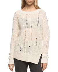 Calvin Klein Jeans | Natural Rib-knit Long-sleeve Pullover | Lyst