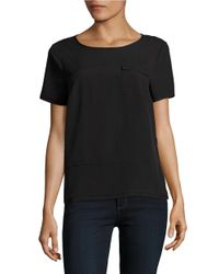 French Connection | Black Patch Pocket Short Sleeved Top | Lyst