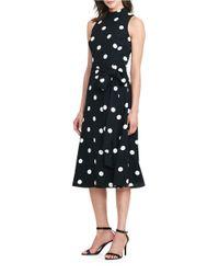 Lauren by Ralph Lauren   Black Petite Polka-dot Crepe Midi Dress   Lyst