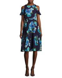 Eliza J | Blue Petite Cold-shoulder Floral-print Dress | Lyst