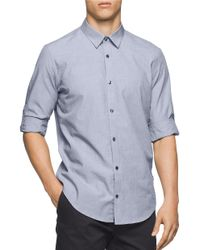 Calvin Klein | Blue Roll-tab Sleeve Sportshirt for Men | Lyst