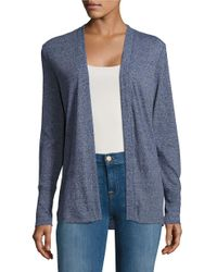 MICHAEL Michael Kors | Blue Ribbed Open-front Cardigan | Lyst