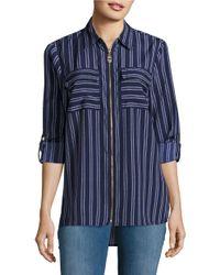 MICHAEL Michael Kors | Blue Striped Zip-front Top | Lyst