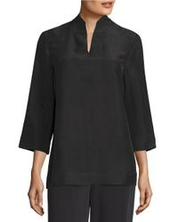 Eileen Fisher | Black Silk Dupioni Top | Lyst