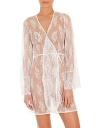 In Bloom - White Sheer Lace Chemise - Lyst
