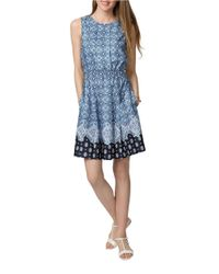 Donna Morgan   Blue Printed Fit And Flare Dress   Lyst