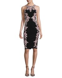 Xscape | Black Floral-embroidered Sheath Dress | Lyst
