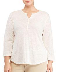 Lauren by Ralph Lauren | White Plus Whipstitched Linen Jersey Tunic | Lyst