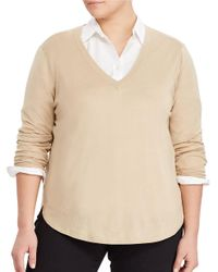 Lauren by Ralph Lauren | Natural Plus Silk-blend V-neck Sweater | Lyst