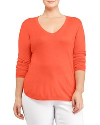 Lauren by Ralph Lauren - Orange Plus Silk-blend V-neck Sweater - Lyst