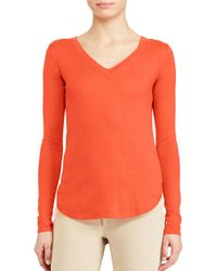 Lauren by Ralph Lauren | Orange Petite Silk-blend V-neck Sweater | Lyst