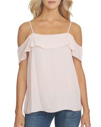 1.STATE | Pink Ruffled Cold-shoulder Blouse | Lyst