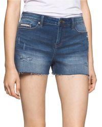 Calvin Klein Jeans | Blue Whiskered Denim Shorts | Lyst
