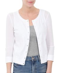 Three Dots | White Combed Cotton Cardigan | Lyst