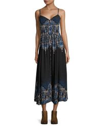 Free People | Black Printed Maxi Dress | Lyst