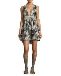 Free People | Black Daydream Printed Mini Dress | Lyst