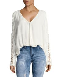 Free People   White Runaway Crochet-accented Top   Lyst