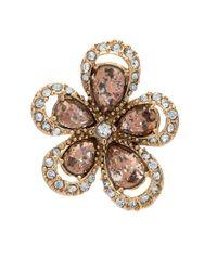 Anne Klein | Metallic Semi-precious Reconstituted Stone Floral Stud Earrings | Lyst