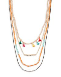 Panacea | Metallic Nested Beaded And Tassel Accented Necklace | Lyst