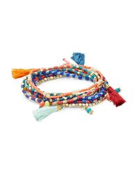Lord & Taylor | Multicolor Multi-beaded And Tassel Stretch Bracelet Set | Lyst