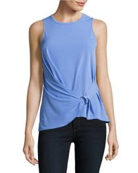 MICHAEL Michael Kors | Blue Petite Knit Mock-wrap Top | Lyst