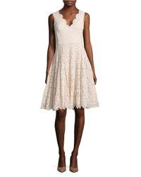 Vera Wang | Pink Solid Scalloped Lace Dress | Lyst