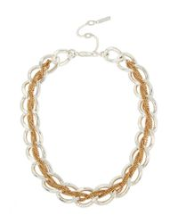 Kenneth Cole | Metallic Two-tone Braided Woven Link Collar Necklace | Lyst