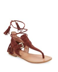 Sigerson Morrison | Brown Alysa Suede Fringe Accented Thong Sandals | Lyst