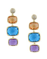 Effy | Mosaic Citrine, Blue Topaz, Amethyst And Diamond 14k Yellow Gold Drop Earrings, 0.12 Tcw | Lyst