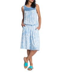 Plenty by Tracy Reese | Blue Printed Drop-waist Midi Romper | Lyst