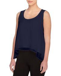 Catherine Malandrino | Blue Cosma Draped Split-back Ruffle Top | Lyst