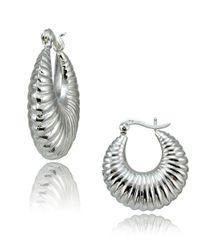 Lord & Taylor | Metallic Sterling Silver Shrimp Hoop Earrings | Lyst