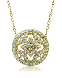 Lord & Taylor Metallic Cubic Zirconia And Sterling Silver Medallion Pendant Necklace