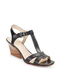 Nine West | Black Geralda Leather Sandals | Lyst