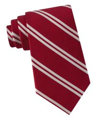 Lord & Taylor | Red American Double Stripe Silk Tie for Men | Lyst