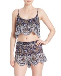 Free People | Multicolor Scalloped Eyelet Tie-back Crop Top | Lyst