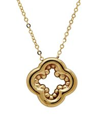 Lord & Taylor | Metallic 14k Italian Gold Polished Inner Beaded Clover Pendant Necklace | Lyst