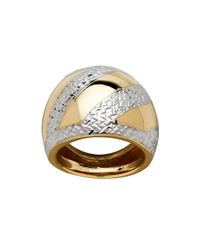 Lord & Taylor | Metallic Gold Rush 14k Yellow Gold Asymmetrical Textured And Striped Dome Ring | Lyst